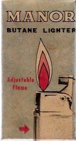 Vintage 1964 Japanese-Made Manor Butane Lighter in Original Box with Instructions