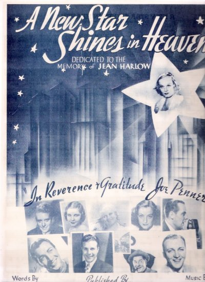 Jean Harlow, Bing Crosby, Joan Crawford 1938 A New Star Shines in Heaven Movie Sheet Music