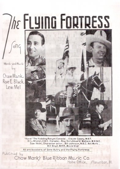 Gene Autry Hank Snow 1944 The Flying Fortress World War II Sheet Music