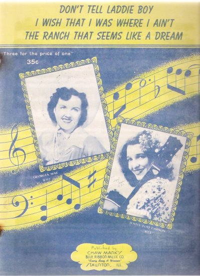 Don't Tell Laddie Boy Jenny Lou Carson WLS Chicago 1945 Country Western Sheet Music