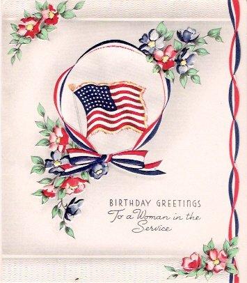 World War II Woman in Service Birthday Greeting Card