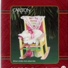 Carlton Cards Baby Girl's First Christmas Kitty in Rocker 1998 #17 Ornament