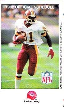 Art Monk 1992 NFL Foldout Schedule