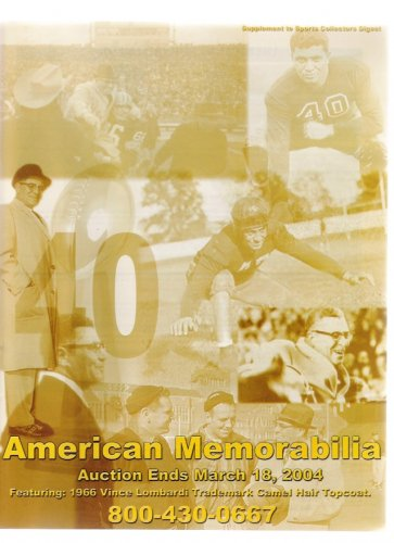 American Memorabilia 2004 Vince Lombardi Green Bay Packer Vintage Sports Auction Catalog