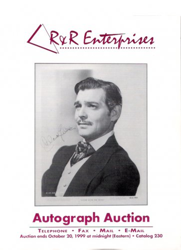 R&R Enterprises Autograph Auction Clark Gable Beach Boys October 1999 Catalog 230