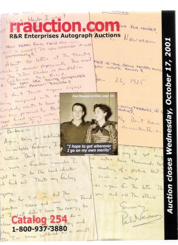 R&R Enterprises Autograph Auction Paul Newman Oct. 2001 Catalog 254