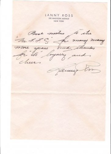 Lanny Ross Singer Radio Star Film Actor 1936 Autographed Signed Letter