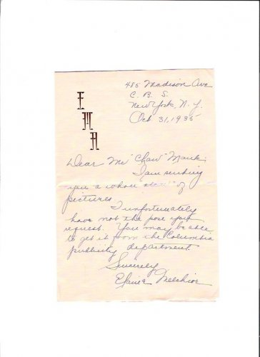 Elaine Melchior Vintage Radio Buck Rogers in 25th Century 1935 Autographed Letter & Envelope