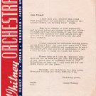 Johnny Whitney Big Band 1944 Autographed Letter & Jimmy Barnett Photo Omaha Nebraska