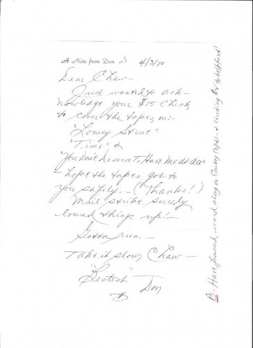 Don Ross Vintage Radio Singer Jane Froman 1970 Handwritten Autographed Letter