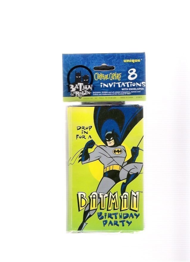 Batman Birthday Party Invitations 1997 Unique Carnival Capers Mint Sealed Pack