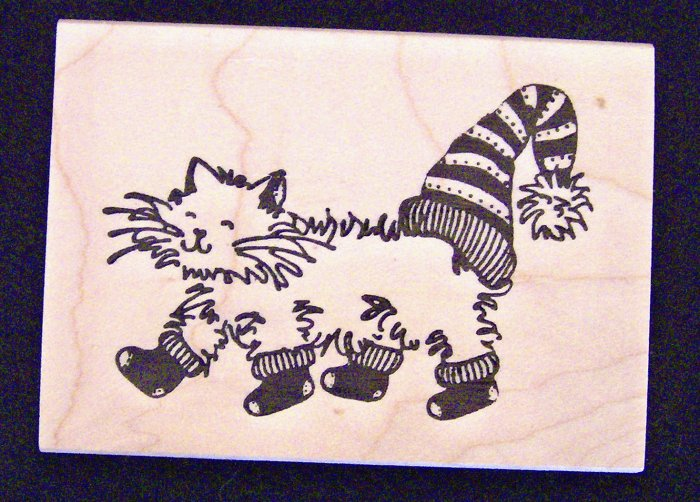 Cat With Stockings and Cap Rubber Stamp Rubber Soul 1003 I New