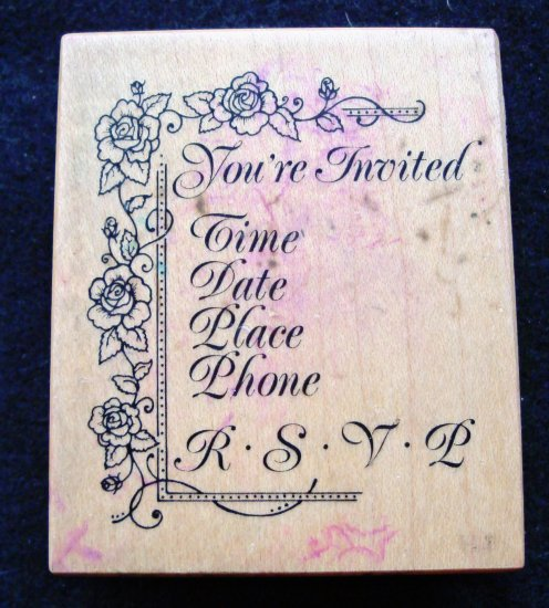 PSX F-929 You're Invited Floral Wood Mounted Rubber Stamp Gently Used