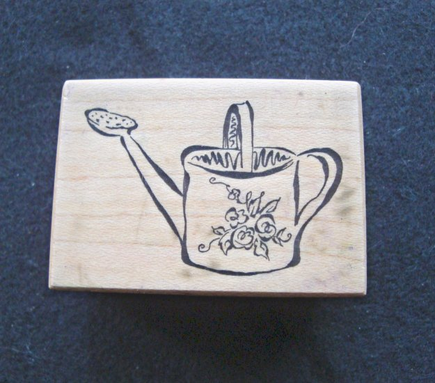 PSX D-2303 Watering Can Wood Mounted Rubber Stamp Gently Used
