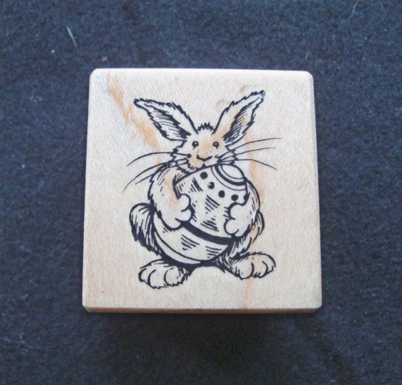 PSX C-1916 Easter Bunny with Egg Wood Mounted Rubber Stamp Gently Used