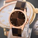 New Fashion Brand Grid Leather Strap Watch Men