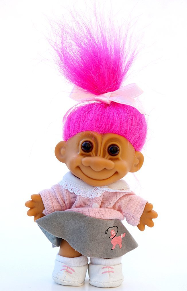 """My Lucky 1950's Poodle Skirt 6"""" Troll Doll (Hot Pink Hair)"""