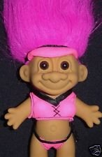 "My Lucky THONG BIKINI 6"" Troll Doll - Hot Pink Hair"