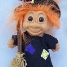 "Vintage Russ Halloween Witch w/ Broom Troll Doll Orange Hair 4.25"" Tall sticker"