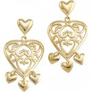 14kt Yellow Gold Heart Shaped Chandelier Earring