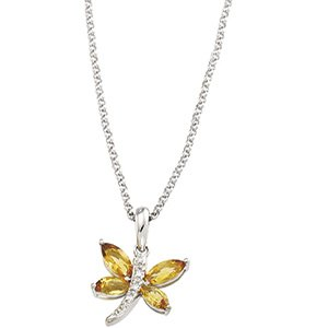 14kt White Gold Citrine & Diamond Necklace