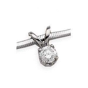14kt White Gold Round .10 ctw Diamond Solitaire Necklace