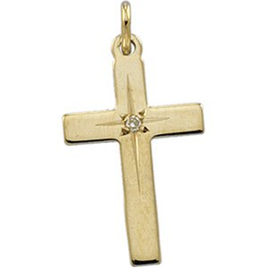 14KT Yellow Gold Cross Diamond Pendant