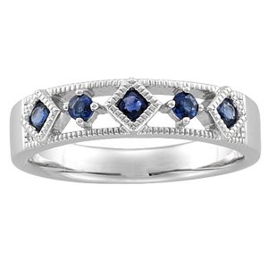 14kt White Gold Sapphire Band Ring