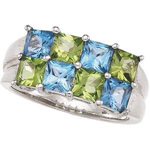 Sterling Silver Swiss Blue Topaz & Peridot Ring