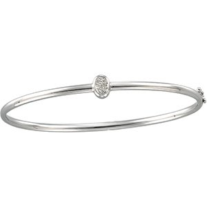 14kt White Gold Round Diamond Fashion Bangle Bracelet