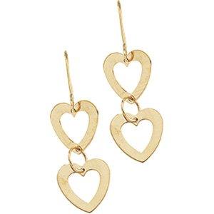 14kt Yellow Gold Geometric Heart Earring