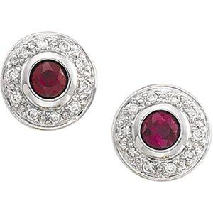 14kt White Gold Ruby & Diamond Earring