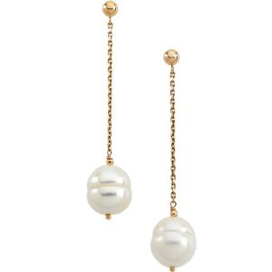14kt Yellow Gold Pearl Earring
