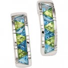 Sterling Silver Swiss Blue Topaz & Peridot Earring