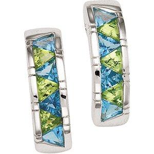 Sterling Silver Swiss Blue Topaz & Peridot Earring
