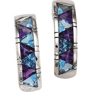 Sterling Silver Swiss Blue Topaz & Amethyst  Earring