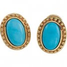 14kt Yellow Gold Cab Turquoise Earring