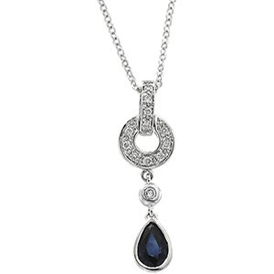 14kt White Gold Blue Sapphire & Diamond Necklace