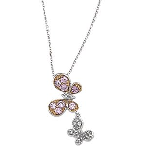 14kt White Gold Rose Gold Plated Pink Sapphire Diamond Necklace