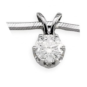 14kt White Gold Round .25 ctw Diamond Solitaire Pendant