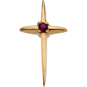 14kt Yellow Gold Cross Ruby Pendant
