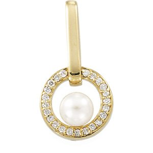 14kt Yellow Gold Cultured Akoya Pearl & Diamond Pendant