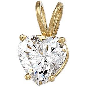 14kt Yellow Gold Cubic Zirconia Heart Pendant