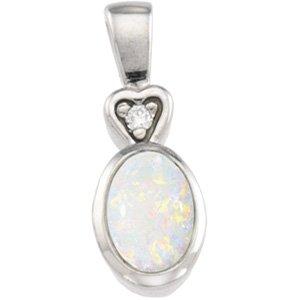 14kt White Gold Genuine Opal & Diamond Pendant