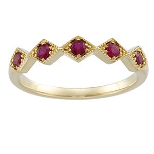 14kt Yellow Gold Ruby Band Ring