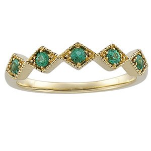14kt Yellow Gold Emerald Band Ring