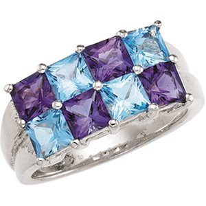 Sterling Silver Swiss Blue Topaz & Amethyst Ring