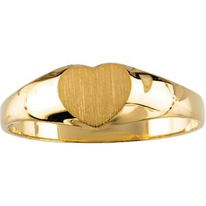 14kt Yellow Gold Children's Heart Signet Ring