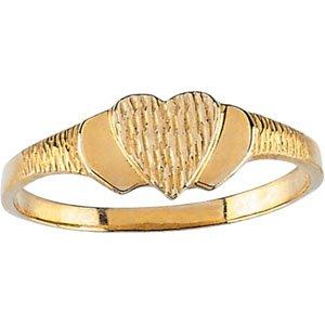14kt Yellow Gold Heart Signet Ring