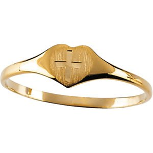 14kt Yellow Gold Heart Ring with Cross